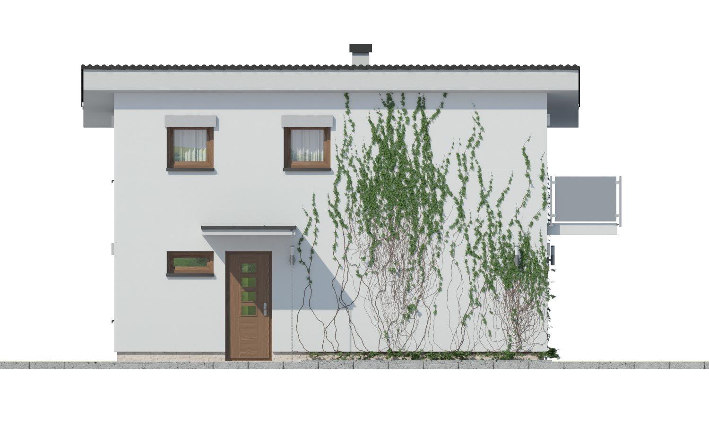 Pohľad 1. - Lacný dom na úzky pozemok s nízkou pultovou strechou, vhodný aj ako záhradný domček.