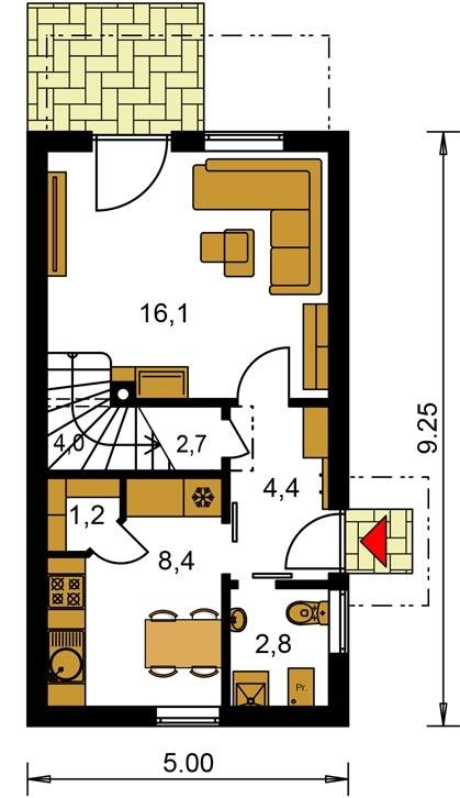 Pôdorys Prízemia - Dom na úzky pozemok s nízkou pultovou strechou, vhodný ako záhrabný domcek