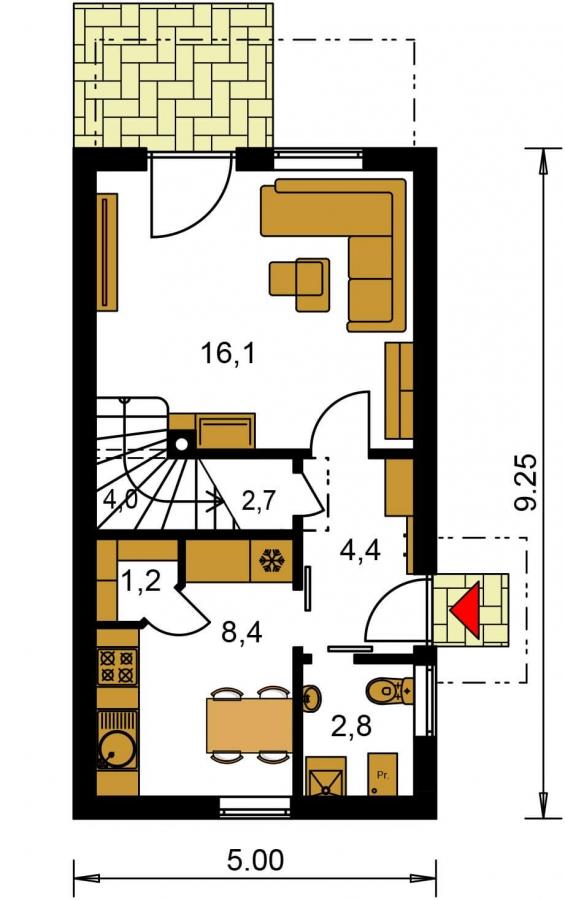 Pôdorys Prízemia - Lacný dom na úzky pozemok s nízkou pultovou strechou, vhodný aj ako záhradný domček.
