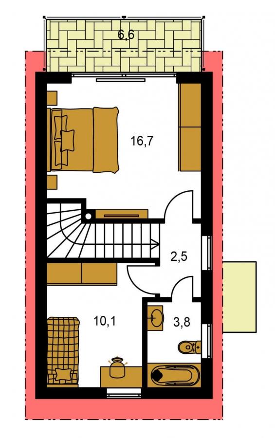 Pôdorys Poschodia - Lacný dom na úzky pozemok s nízkou pultovou strechou, vhodný aj ako záhradný domček.