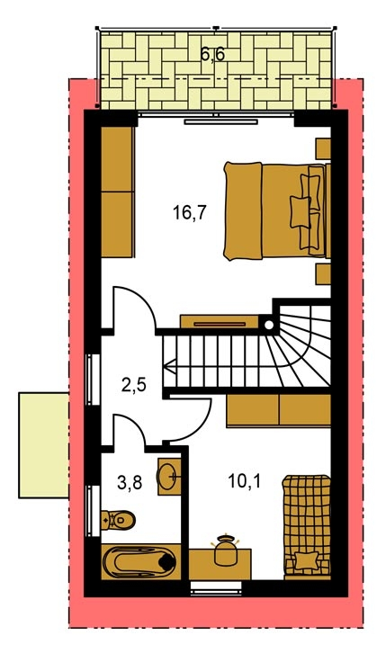 Pôdorys Poschodia - Dom na úzky pozemok s nízkou pultovou strechou, vhodný ako záhrabný domcek