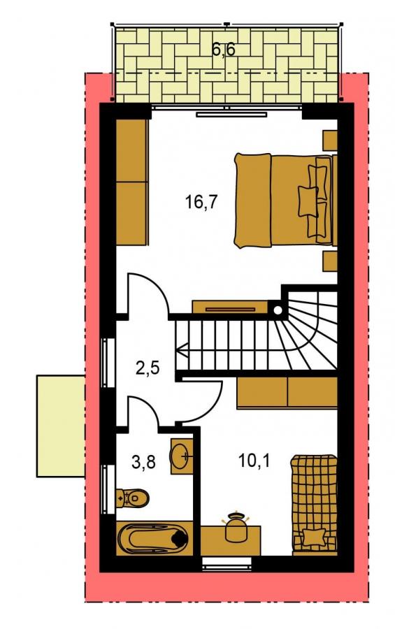 Pôdorys Poschodia - Lacný dom na úzky pozemok s nízkou pultovou strechou, vhodný ako záhradný domček
