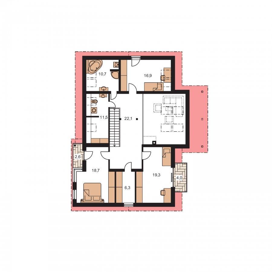Pôdorys Poschodia - Priestranný dom s garážou a galériou v obývacej izbe