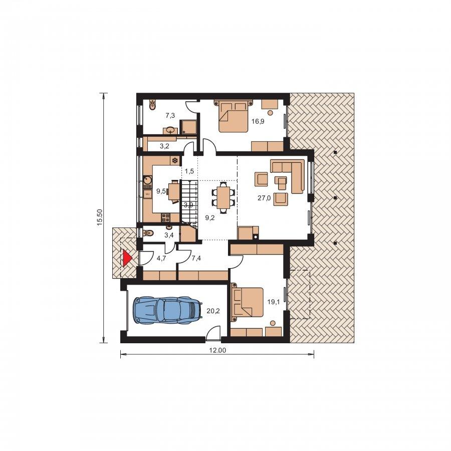 Pôdorys Prízemia - Priestranný dom s garážou a galériou v obývacej izbe