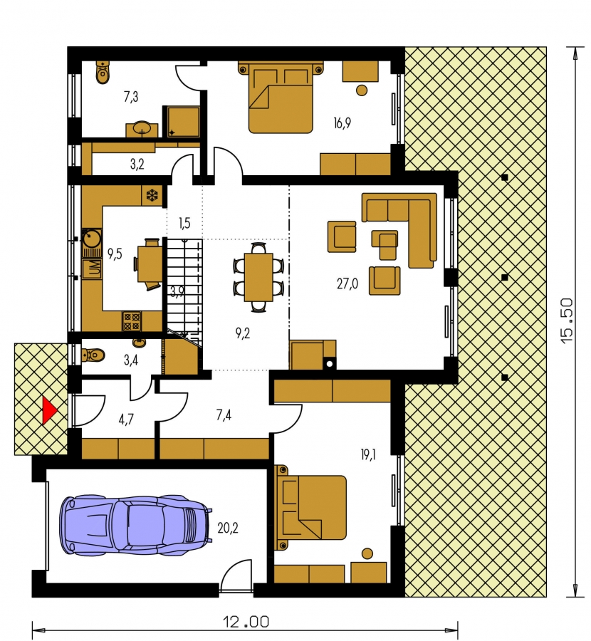 Pôdorys Prízemia - Priestranný dom s garážou a galériou v obývacej izbe.