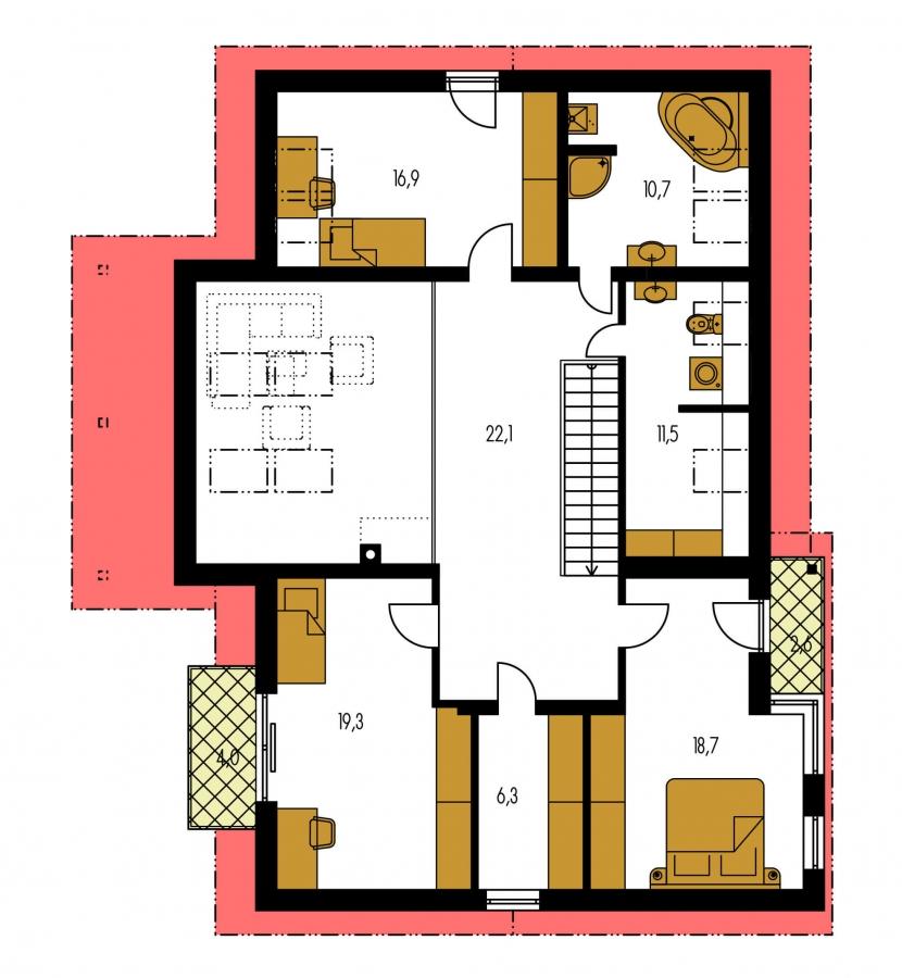 Pôdorys Poschodia - Priestranný dom s garážou a galériou v obývacej izbe.