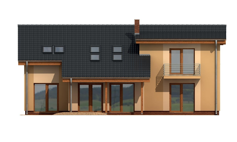 Pohľad 3. - Priestranný dom s garážou a galériou v obývacej izbe.