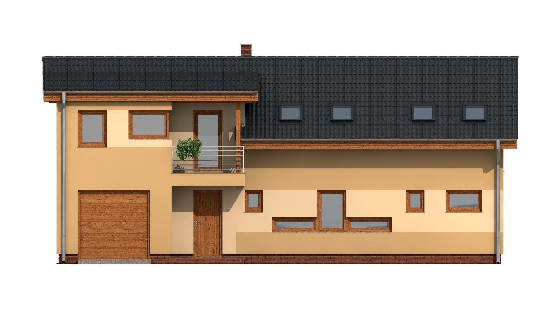 Pohľad 1. - Priestranný dom s garážou a galériou v obývacej izbe.