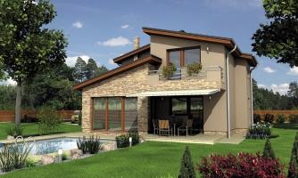 Moderný poschodový dom s izbou na prízemí a pultovými strechami