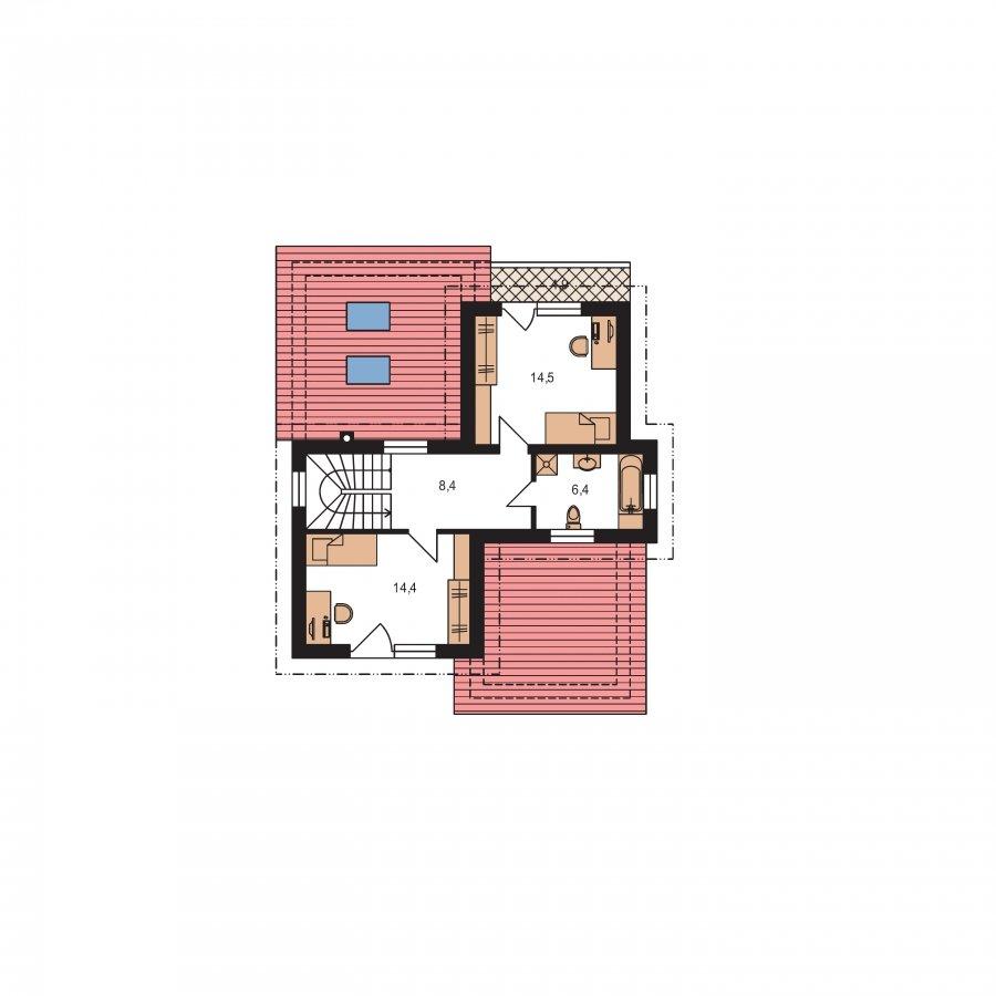 Pôdorys Poschodia - Moderný poschodový dom s izbou na prízemí a pultovými strechami