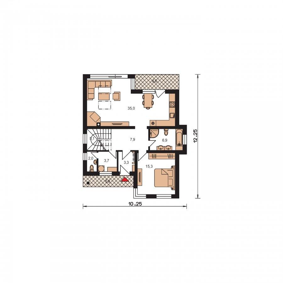 Pôdorys Prízemia - Moderný poschodový dom s izbou na prízemí a pultovými strechami