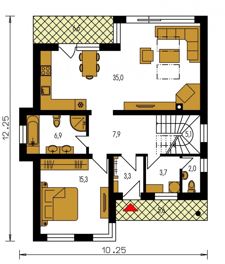 Pôdorys Prízemia - Moderný poschodový dom s izbou na prízemí a pultovými strechami.