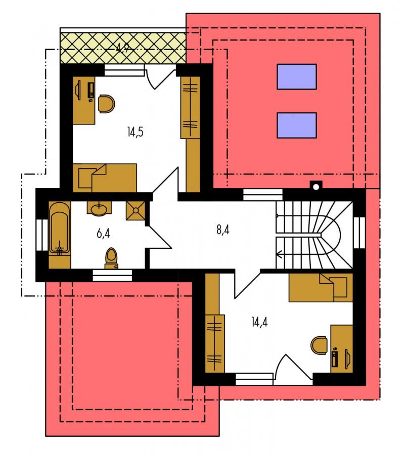 Pôdorys Poschodia - Moderný poschodový dom s izbou na prízemí a pultovými strechami.