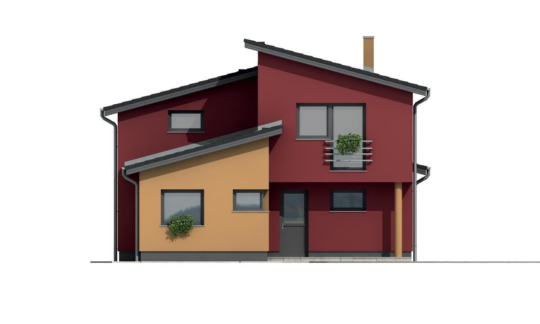 Pohľad 1. - Moderný poschodový dom s izbou na prízemí a pultovými strechami.