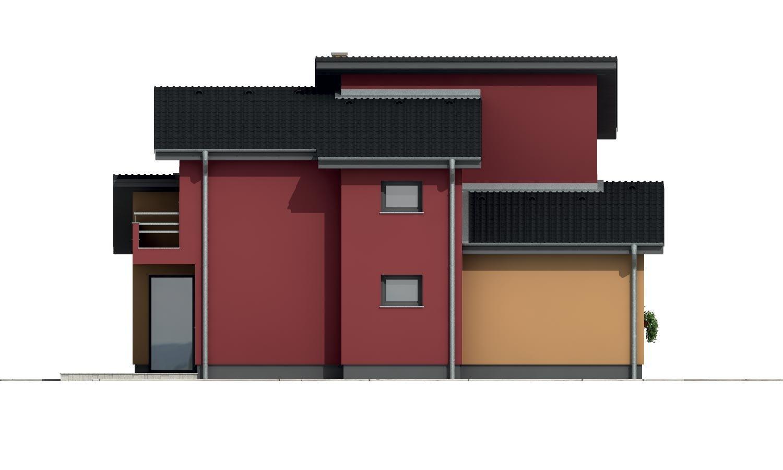 Pohľad 2. - Moderný poschodový dom s izbou na prízemí a pultovými strechami.