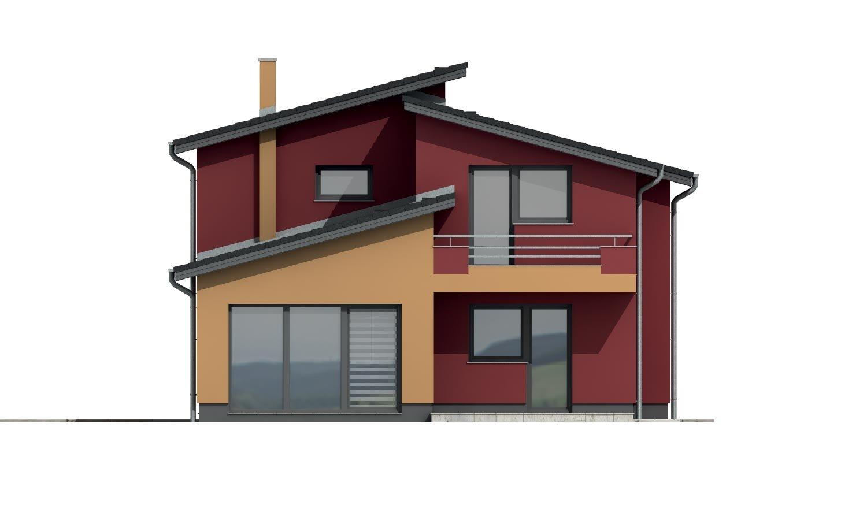 Pohľad 3. - Moderný poschodový dom s izbou na prízemí a pultovými strechami.