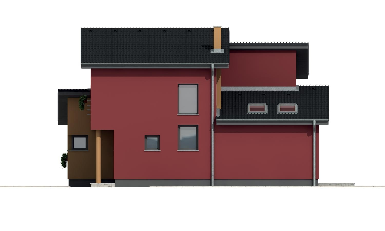 Pohľad 4. - Moderný poschodový dom s izbou na prízemí a pultovými strechami.