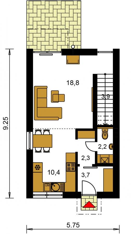 Pôdorys Prízemia - Projekt moderného rodinného domu na úzky pozemok