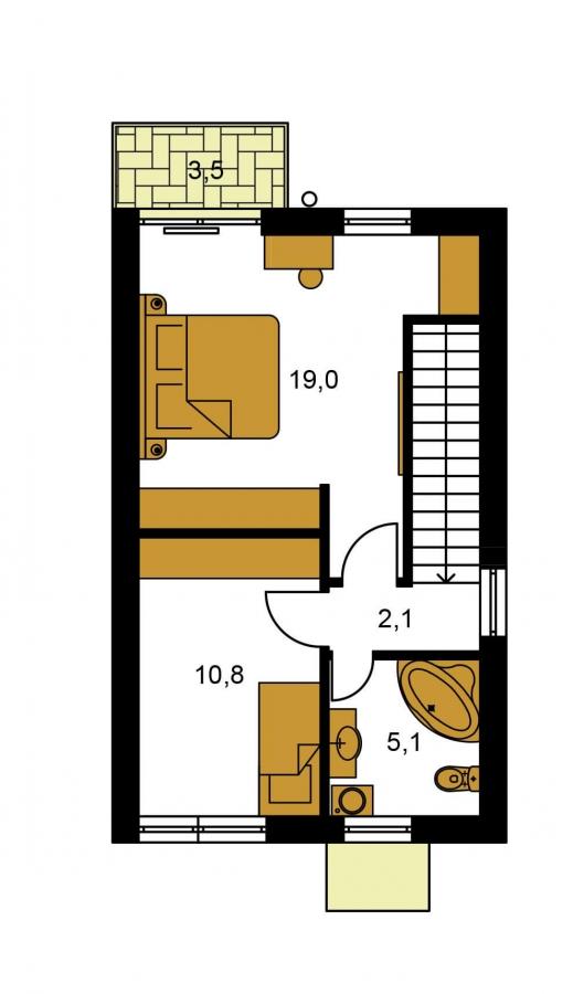 Pôdorys Poschodia - Projekt moderného rodinného domu na úzky pozemok