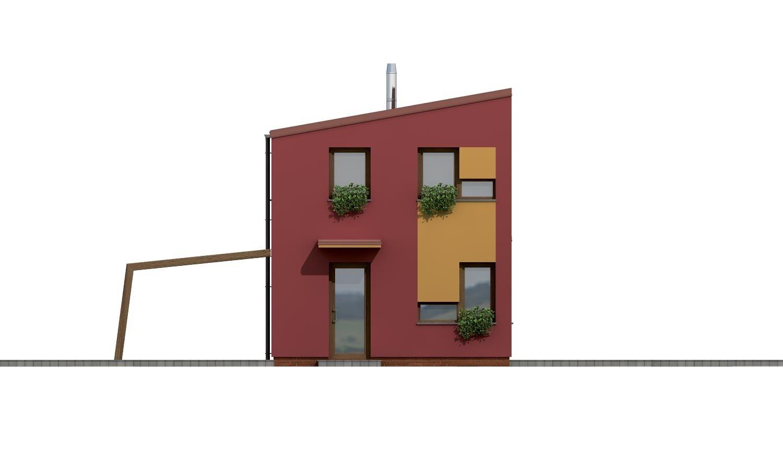Pohľad 1. - Projekt moderného rodinného domu na úzky pozemok.