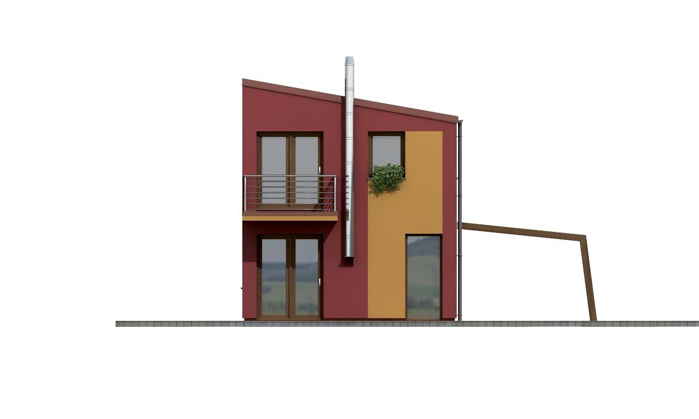 Pohľad 3. - Projekt moderného rodinného domu na úzky pozemok.