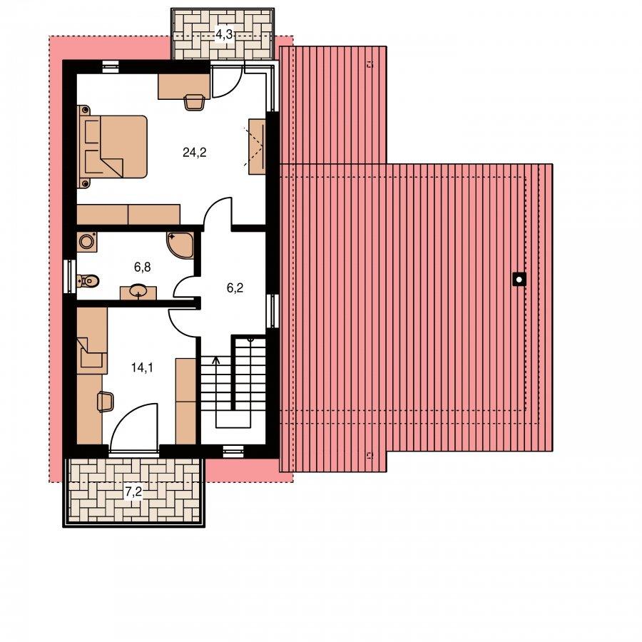 Pôdorys Poschodia - Moderný z časti poschodový dom s garážou a spálňou na prízemí