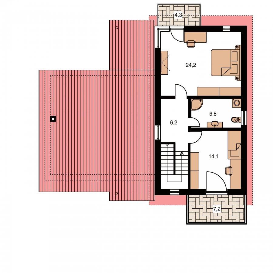 Pôdorys Poschodia - Moderný z časti poschodový dom s garážou a spálňou na prízemí.