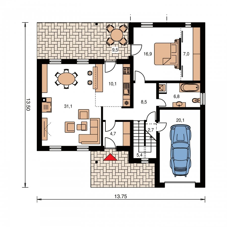 Pôdorys Prízemia - Moderný z časti poschodový dom s garážou a spálňou na prízemí.