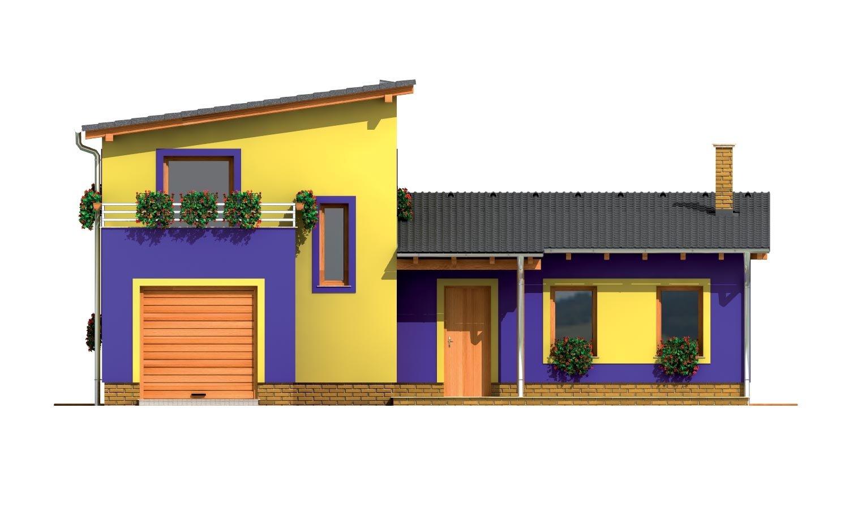 Pohľad 1. - Moderný z časti poschodový dom s garážou a spálňou na prízemí.