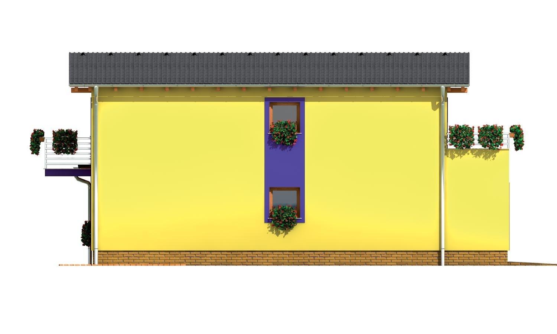 Pohľad 2. - Moderný z časti poschodový dom s garážou a spálňou na prízemí.