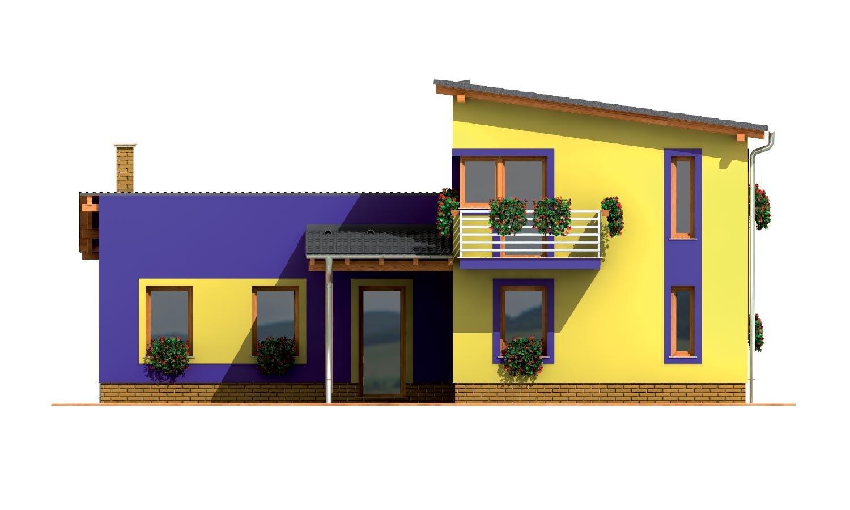 Pohľad 3. - Moderný z časti poschodový dom s garážou a spálňou na prízemí.
