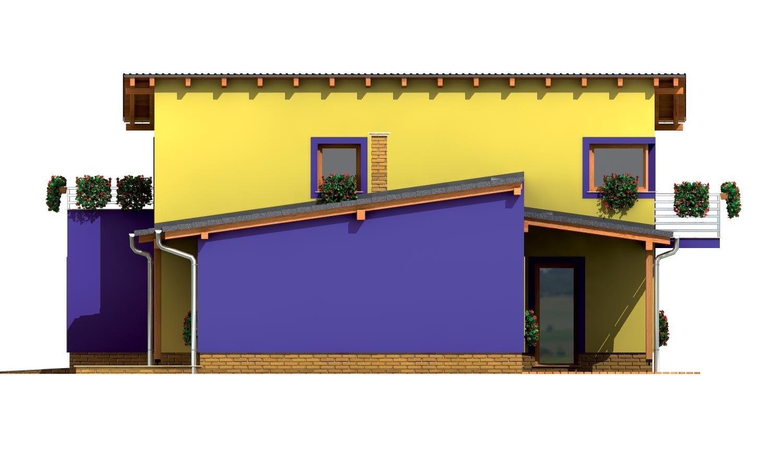 Pohľad 4. - Moderný z časti poschodový dom s garážou a spálňou na prízemí.