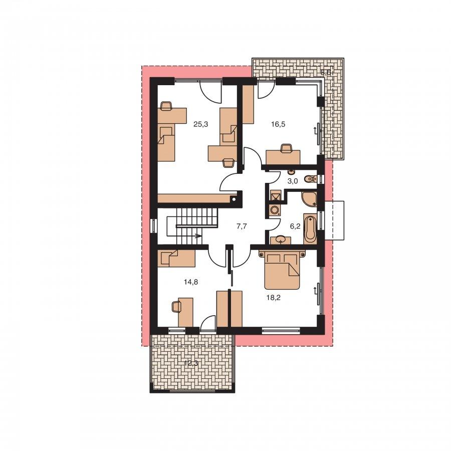 Pôdorys Poschodia - Dom na úzky pozemok s garážou