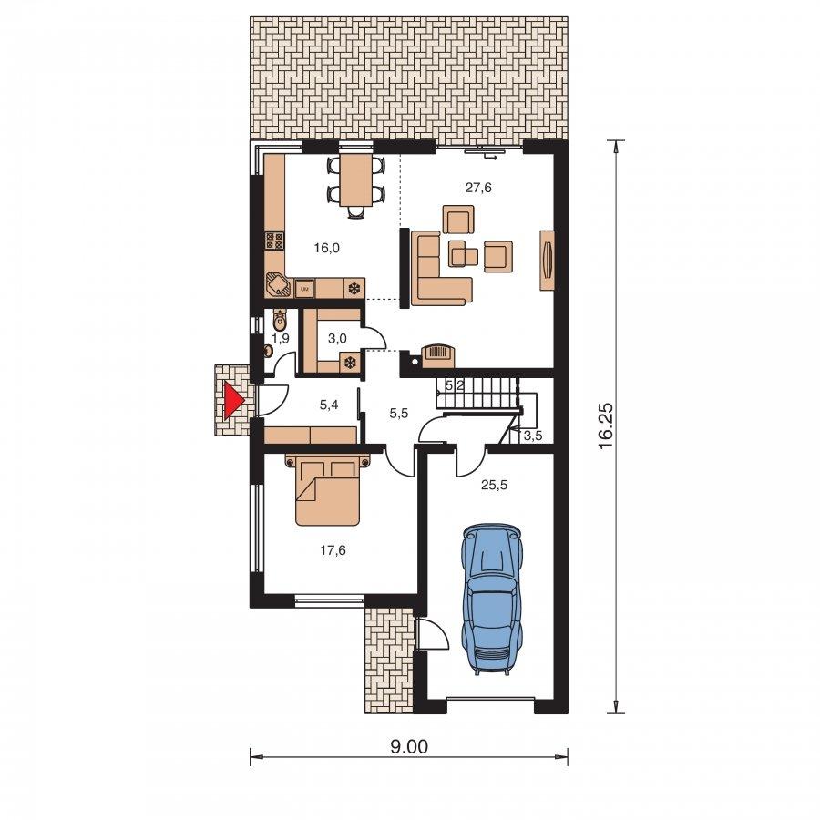 Pôdorys Prízemia - Dom na úzky pozemok s garážou