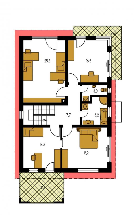 Pôdorys Poschodia - Poschodový dom na úzky pozemok s garážou.