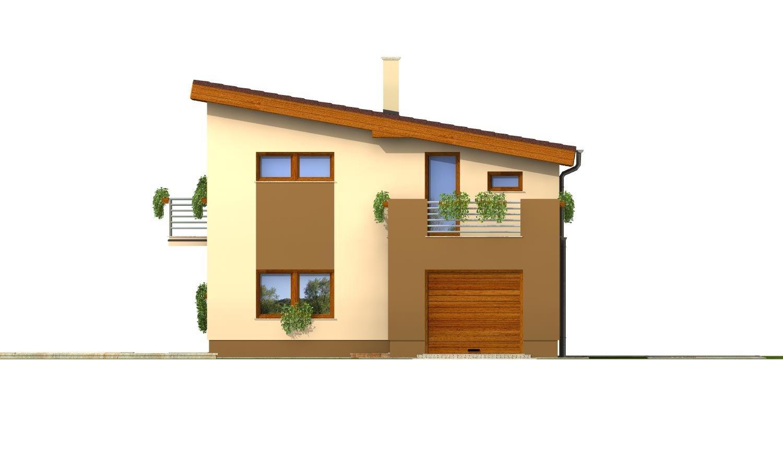 Pohľad 1. - Poschodový dom na úzky pozemok s garážou.