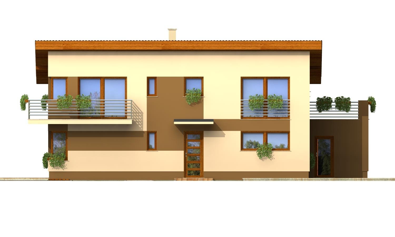 Pohľad 2. - Poschodový dom na úzky pozemok s garážou.