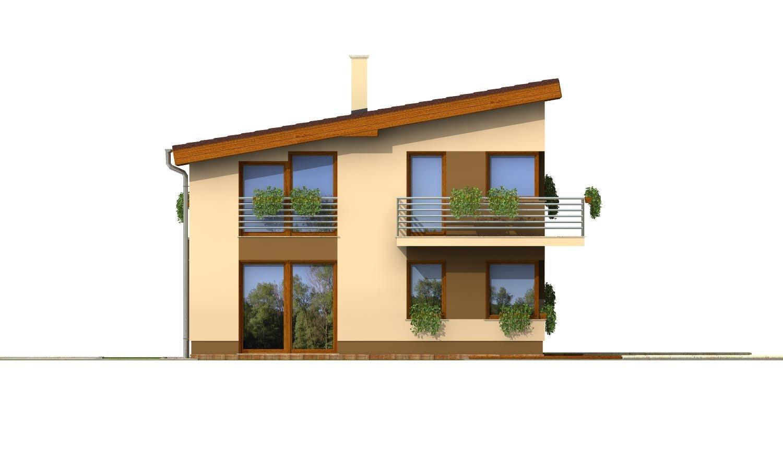 Pohľad 3. - Poschodový dom na úzky pozemok s garážou.
