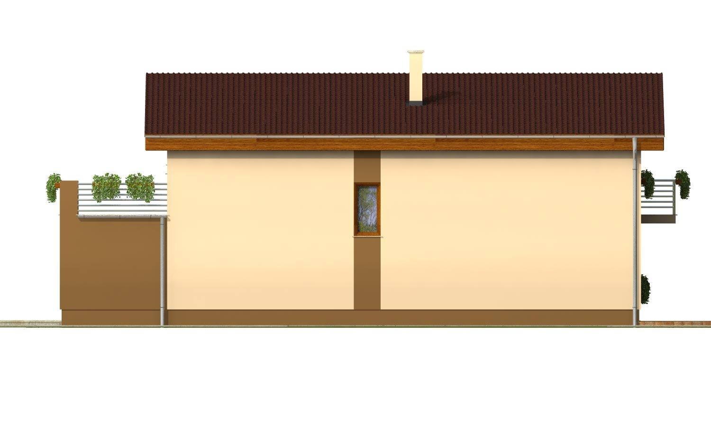 Pohľad 4. - Poschodový dom na úzky pozemok s garážou.