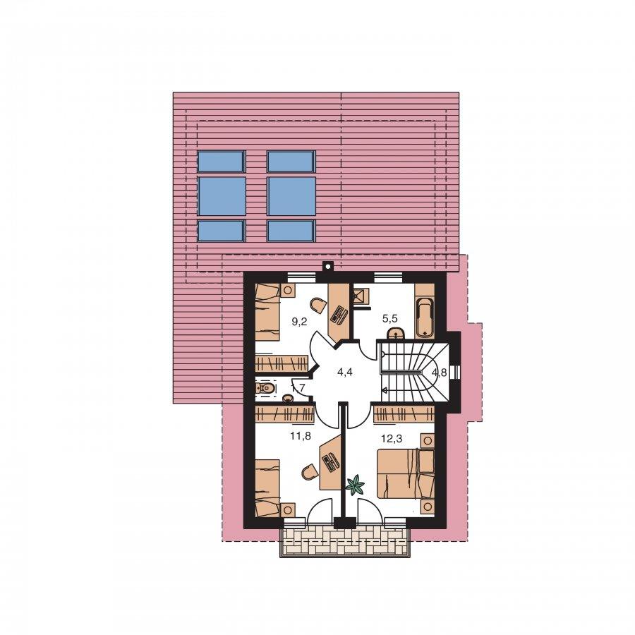 Pôdorys Poschodia - Dom na užší pozemok s garážou, z časti poschodový