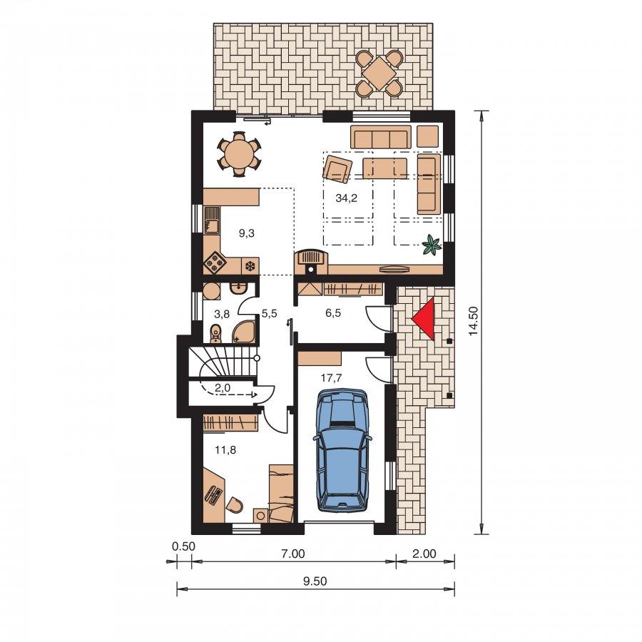 Pôdorys Prízemia - Dom na užší pozemok s garážou, z časti poschodový