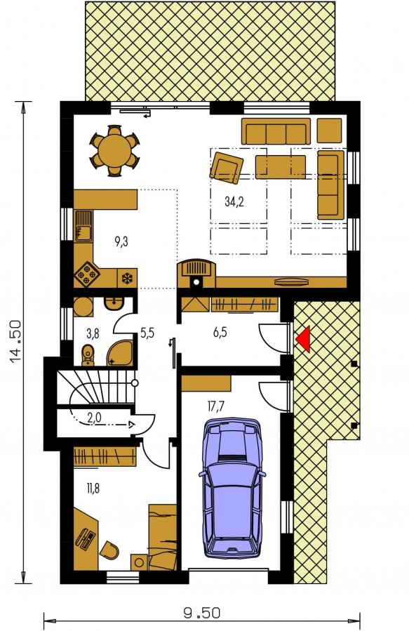 Pôdorys Prízemia - Dom na užší pozemok s garážou, z časti poschodový.