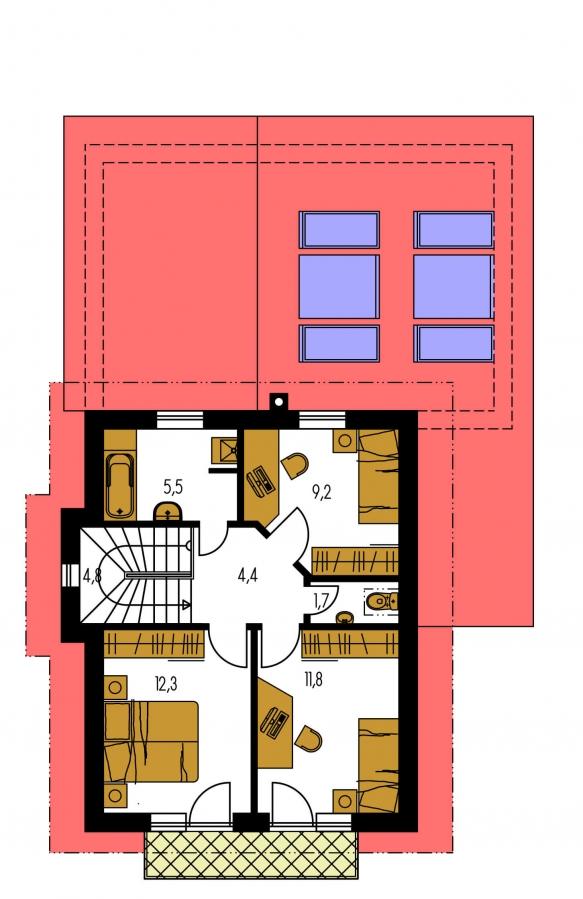 Pôdorys Poschodia - Dom na užší pozemok s garážou, z časti poschodový.