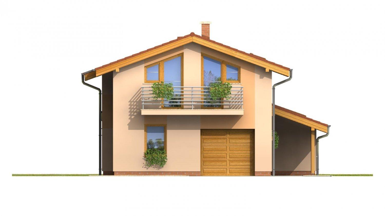 Pohľad 1. - Dom na užší pozemok s garážou, z časti poschodový.