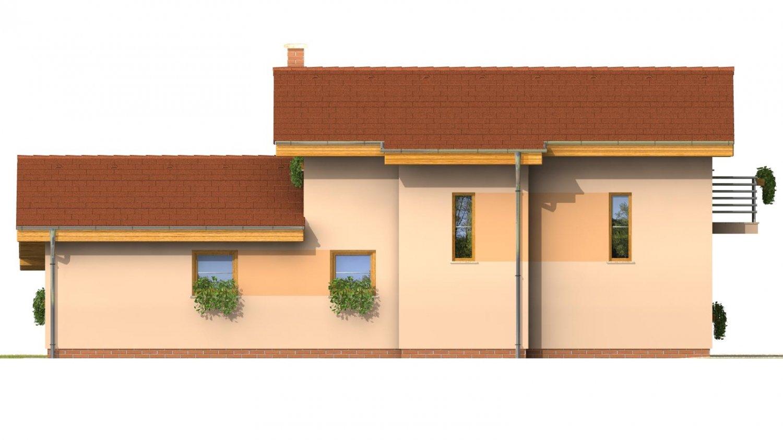 Pohľad 2. - Dom na užší pozemok s garážou, z časti poschodový.
