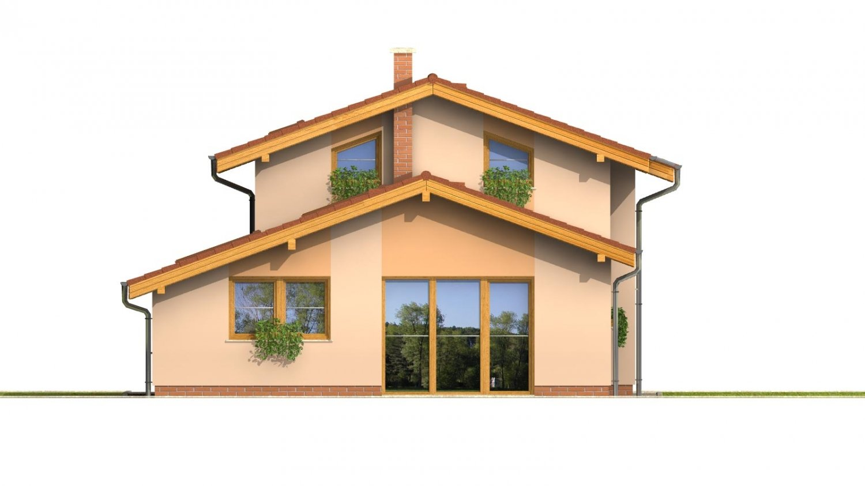 Pohľad 3. - Dom na užší pozemok s garážou, z časti poschodový.