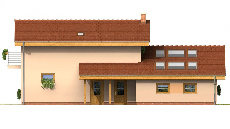 Pohľad 4. - Dom na užší pozemok s garážou, z časti poschodový.