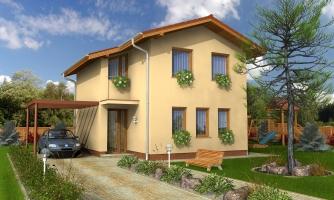 Poschodový dom na úzky pozemok so sedlovou strechou