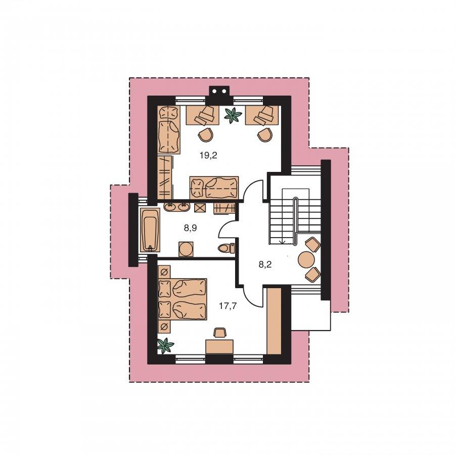 Pôdorys Poschodia - Poschodový dom na úzky pozemok so sedlovou strechou