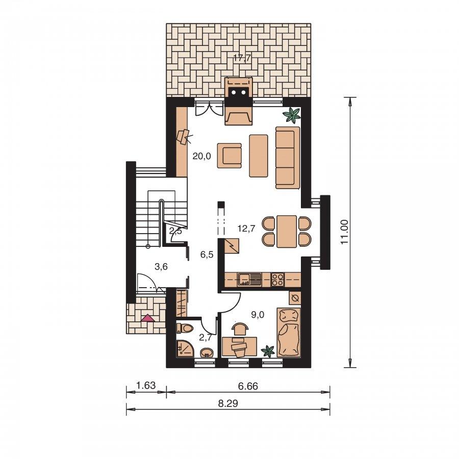 Pôdorys Prízemia - Poschodový dom na úzky pozemok so sedlovou strechou